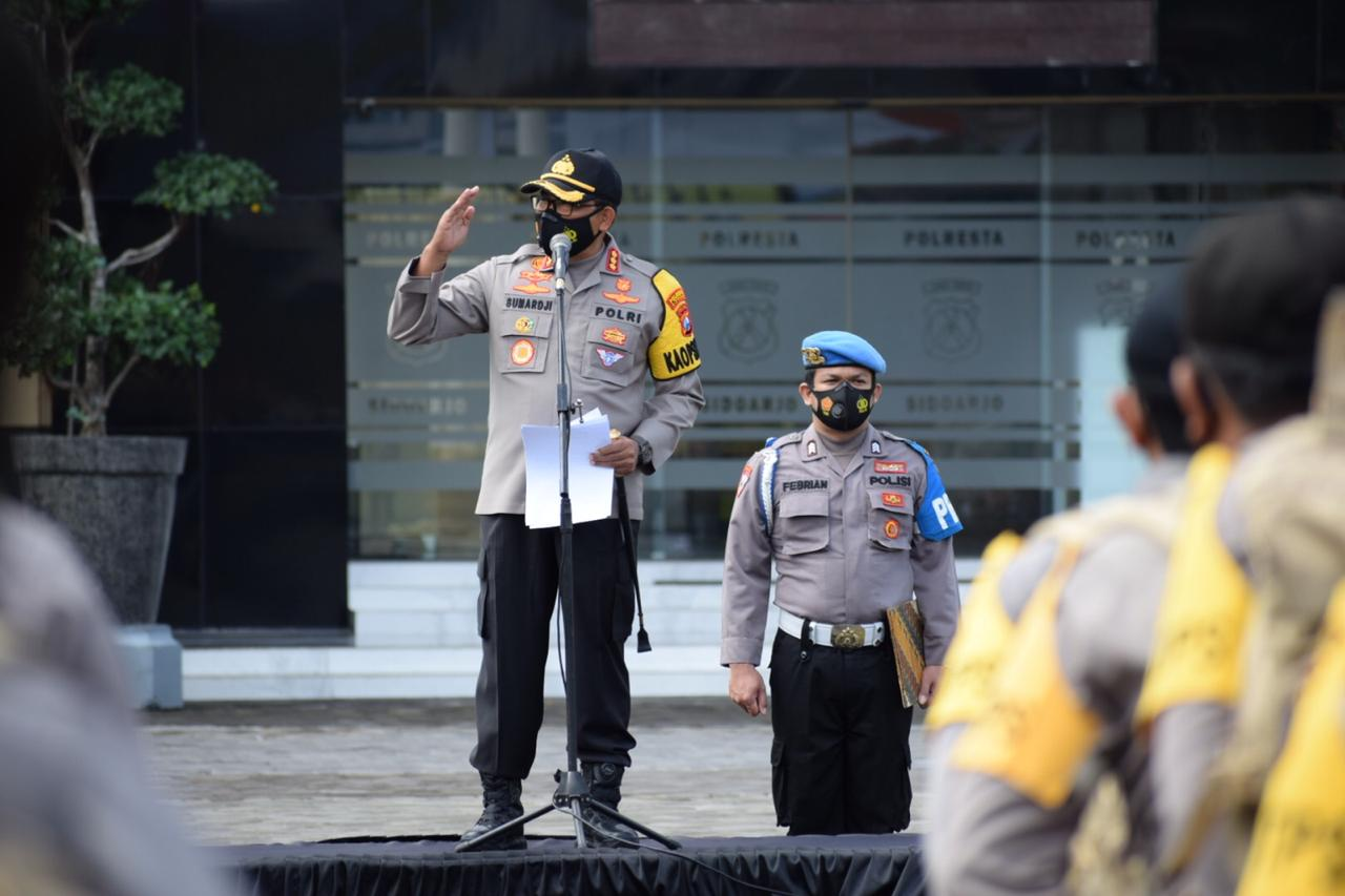 Kapolresta Sidoarjo Pimpin Apel Pergeseran Pasukan Pengamanan TPS Pilkada 2020