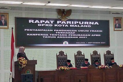 Pandangan Umum Fraksi Telah Disampaikan pada Rapat Paripurna DPRD Kota Malang